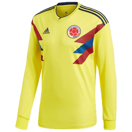 adidas Colombia 2018 World Cup Home Long Sleeve Replica Jersey