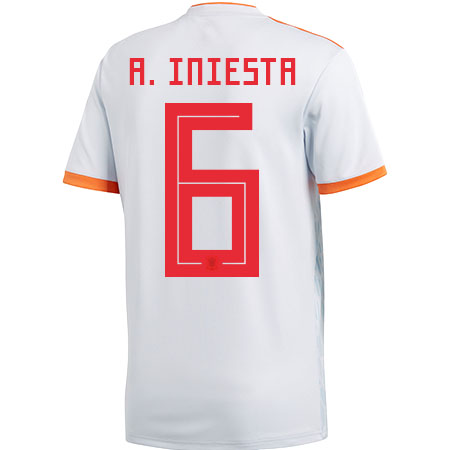 adidas Iniesta Spain 2018 World Cup Away Jersey