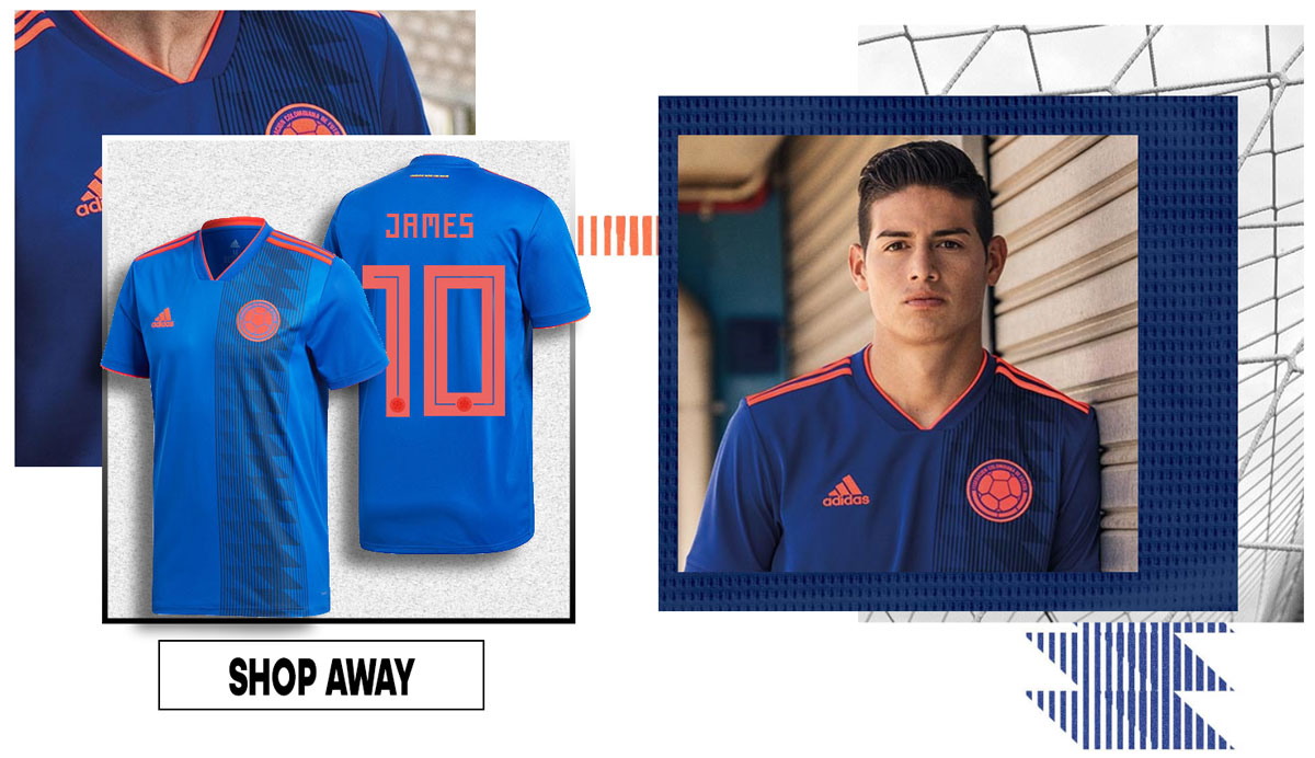 8fc7dbcadb3 JAMES RODRIGUEZ COLOMBIA AWAY JERSEY. SHOP OTHER WORLD CUP PRODUCTS – OLE  COLOMBIA!